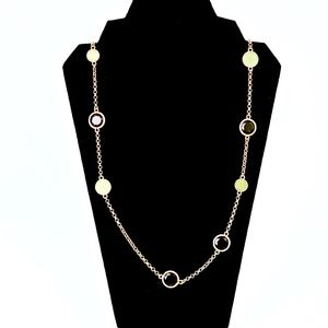 MARC JACOBS~logo & crystal~STATION LONG NECKLACE
